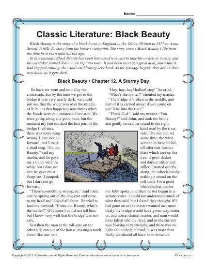 This free, printable activity set about Black Beauty is great to help reinforce reading comprehension, writing, and vocabulary skills
