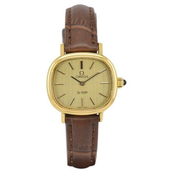 Pre-owned Omega De Ville Gold Plated / Leather Vintage 26mm Womens... ($219) ❤ liked on Polyvore featuring jewelry, watches, dial watches, gold plated jewellery, pre owned watches, leather wrist watch and omega watches