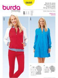 burda style: Damen - Jacken & Mäntel - Mantel – Blouson – Reißverschluss – Strickbündchen