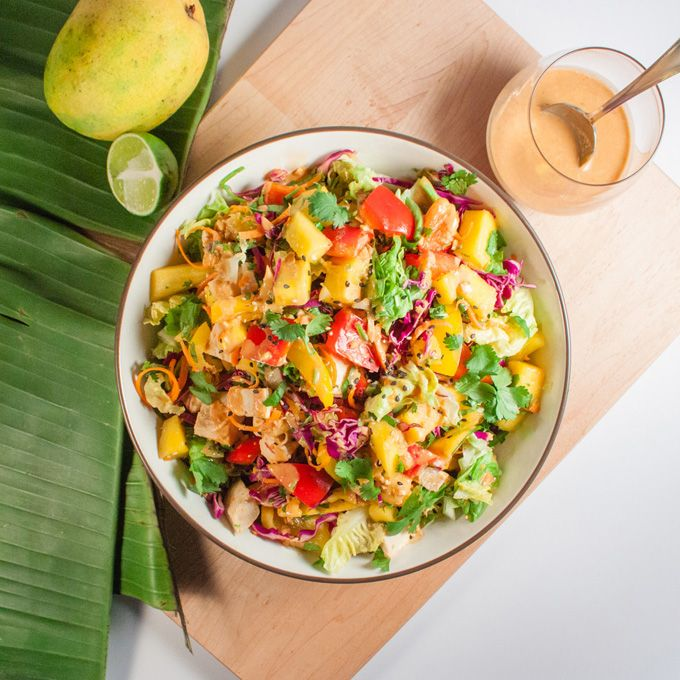 Thai Mango Salad with Spicy Peanut Dressing: hits all the right notes – crispy, spicy, sweet and tangy (high raw, vegan).