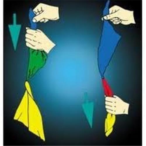 RENK DEĞİŞTİREN MENDİL : 3 yaşındaki bir çocuğun bile kolaylıkla yapabileceği kadar basittir. El becerisi gerektirmez. Ama etkisi büyüktür, şaşırtır, büyük sahne oyunlarında bile kullanılır. Kırmızı mavi olan mendiller istediğiniz zaman sarı ve yeşil renge dönüşür. Defalarca yapabileceğiniz ve yıllarca kullanabileceğiniz bir üründür.