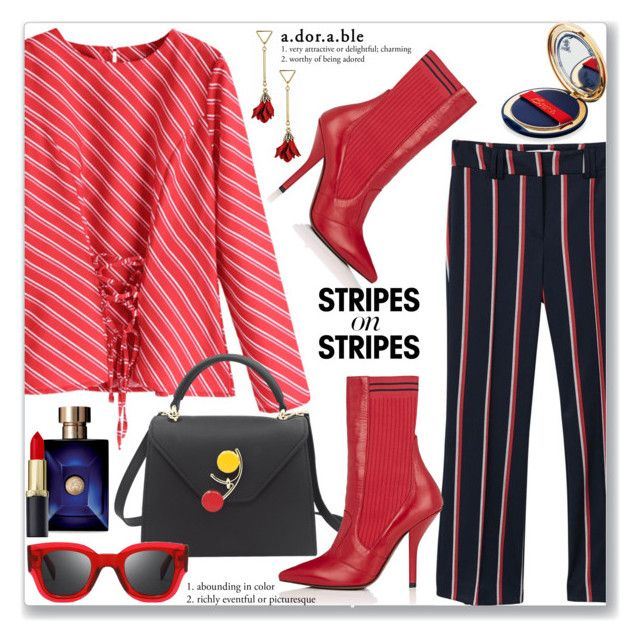"""Pattern Challenge: Stripes on Stripes (Work Wear)"" by jecakns ❤ liked on Polyvore featuring MANGO, Versace, Fendi and Bésame"