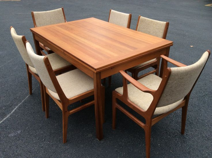 Mid Century Modern Teak Expanable Dining Table with Six Teak Chairs   Mid  Century Six D Scan Chairs W Expanable Dining Table Free Shipping by Dar Mid Century Modern Teak Expanable Dining Table with Six Teak  . Mid Century Teak Dining Table And Chairs. Home Design Ideas