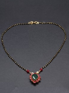 Buy Red and Green Floral Black Beaded Mangalsutra online.