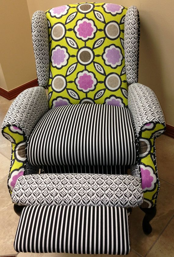 #Wingback #Recliner from our Etsy shop! #Designer'sGuild #BlackAndWhite #BeforeAndAfter #Upholstery #Chair #Bright #Pattern #Upcycle