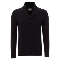 Men's Linea Shawl collar cable knit jumper, Navy