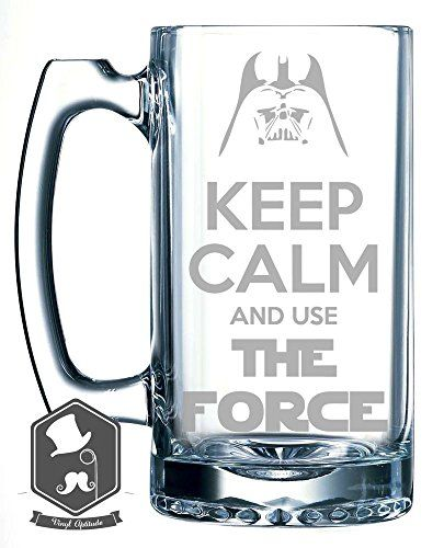 """Star Wars """"Keep Calm and Use the Force"""" Inspired 25 OZ Hand-made Etched Beer Mug Glass Stein - http://houseofjunque.com/product/star-wars-keep-calm-and-use-the-force-inspired-25-oz-hand-made-etched-beer-mug-glass-stein -"""