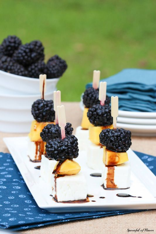 Mango, Blackberry and Feta Bites