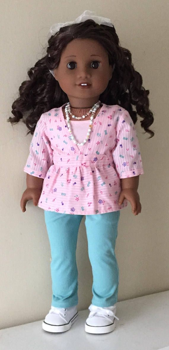 Clothes to fit American Girl doll: sheer pink print top