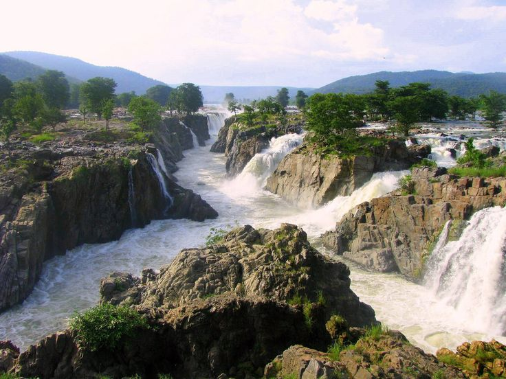 Hogenakkal Falls is a waterfall in South India on the river Kaveri. It is located in the Dharmapuri district of the southern Indian state of Tamil Nadu.
