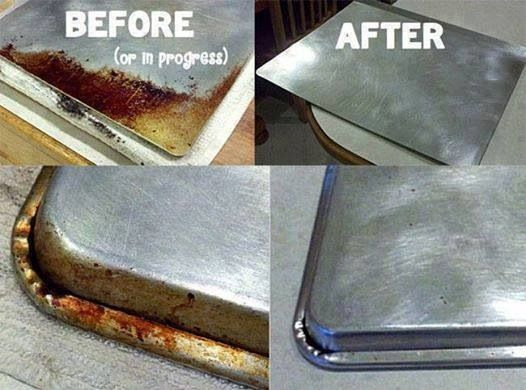 DYI Cleaning Cooking Sheets Miracle Cleaner Put 1/4 cup baking soda into a small glass bowl and add hydrogen peroxide until it makes a nice paste. Then rub it on the grease stains.