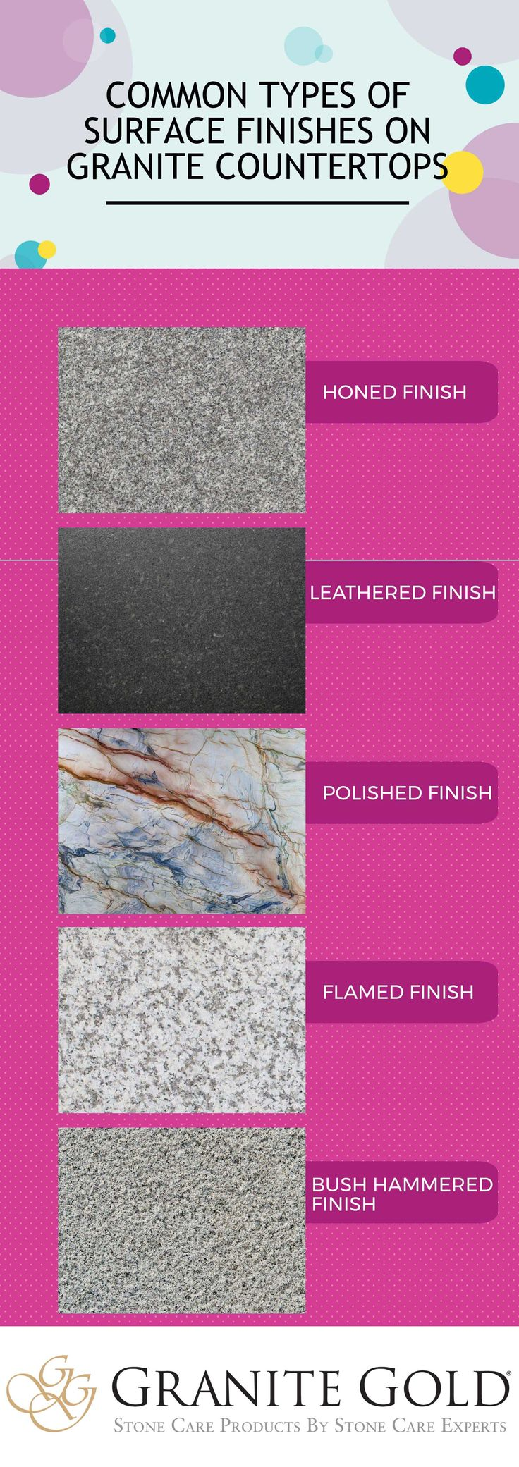 Every homeowner has different tastes when it comes to granite countertops, and thus there are a wide array of surface finishes to choose from. Each of these surface finish options is attractive in its own way. Make sure to use a granite polish such as Granite Gold Polish® to keep your finish looking as good as new.