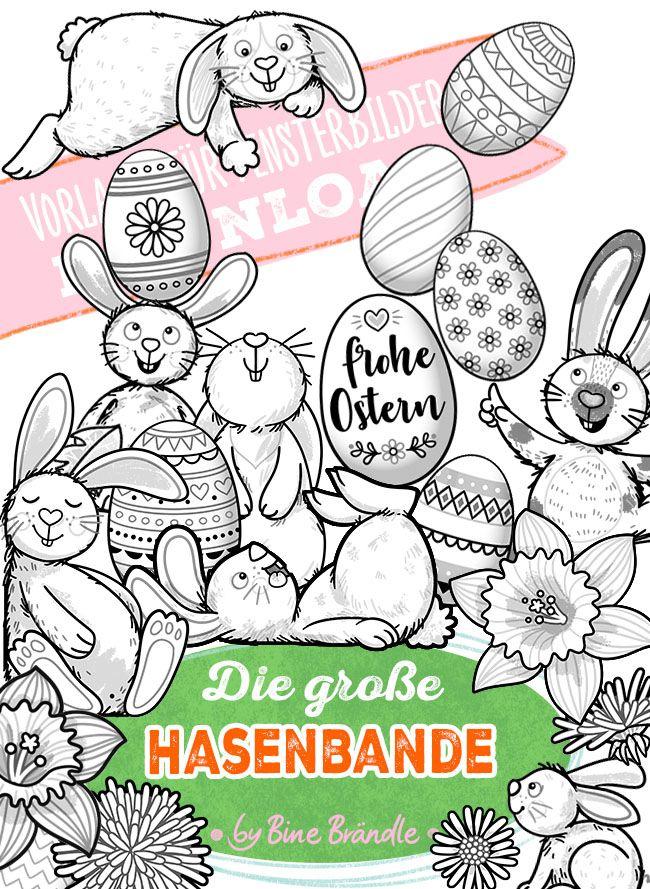 Motiv Vorlage Die Grosse Hasenbande Insgesamt 35 A4 Seiten Viele Viele Hasen Mit Ostereiern Fruhlings Blumen Basteln Aus Papier Hase Vorlagen Zum Ausmalen