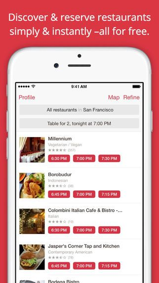 OpenTable app. This could be interesting if filtering by class type? Easily see when they are having classes. Except lots of studios have different classes -- class @ 5 isn't same as class @6... hmm