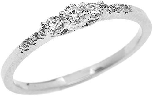 Best Seller Dainty 10k White Gold Diamond Engagement Proposal Promise Ring online – womens Jewelry