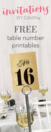 Free printable wedding table numbers. Choose from tons of designs and colors - all free to download. #freeweddingprintable