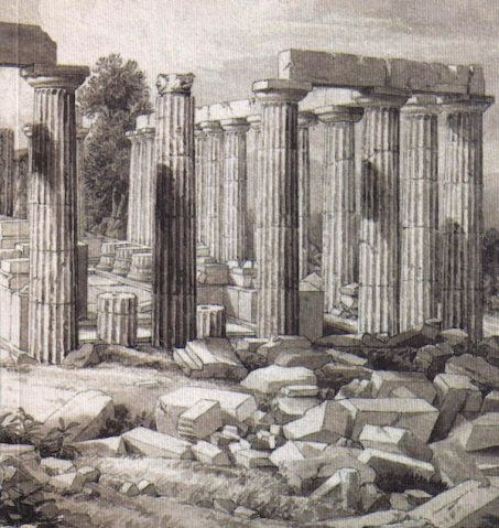 Temple of Apollo Epicurius, from an 1812 drawing by John Foster