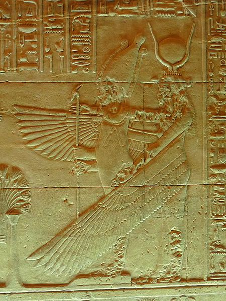 Osiris Ounnefer and winged Isis in naos, Isis Temple, Philae Island, Egypt