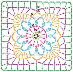Cuadrado fácil de tejer um crochet (quadrado da avó)! muito bonita - feita em pla ...