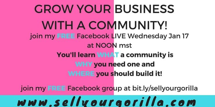 Building a business can be hard!!   So it's time to check out how to grow your business by building a community!    Join me for a FREE Facebook live!