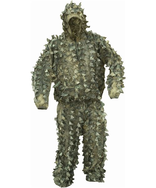 LLCS Ghillie Suit Suit includes smock style top with hood and elastic drawstring elasticated cuffs waistband trousers have elasticated waistband and