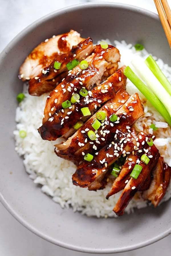 Soy-Glazed Chicken – the best soy-glazed chicken recipe ever. Made with soy sauce, five spice powder and sugar, this sticky and savory chicken is crazy good!