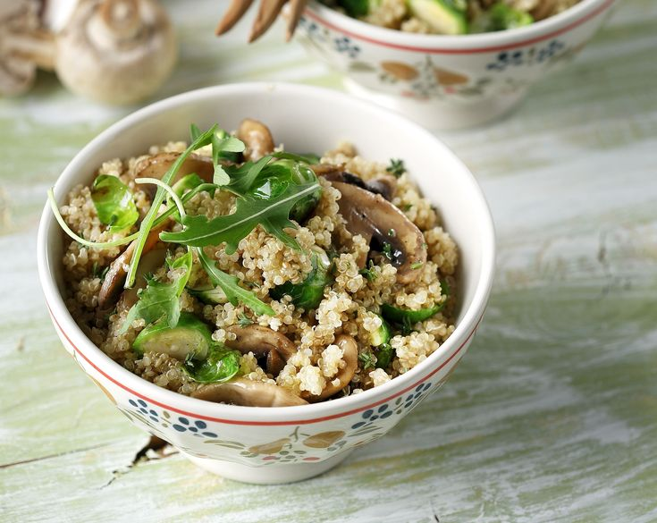 Quinoa with Mushrooms and Brussel Sprouts. A healthy, vegetarian and dairy free recipe, so yummy, so delicious, you can't possibly resist!!