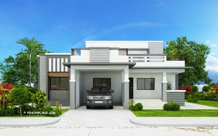 This Four Bedroom Modern House Design With Roof Deck Has A Total Floor Area Of 177 Squa Modern Bungalow House Modern Bungalow House Design Bungalow House Plans