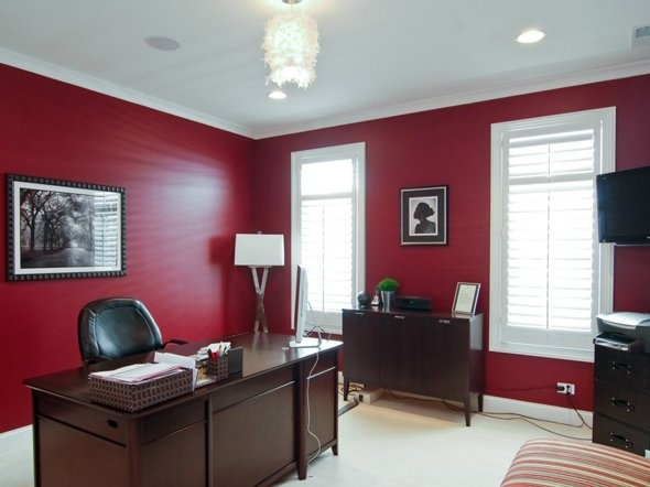 Electric red home office idea red inspired decor for Red home decor