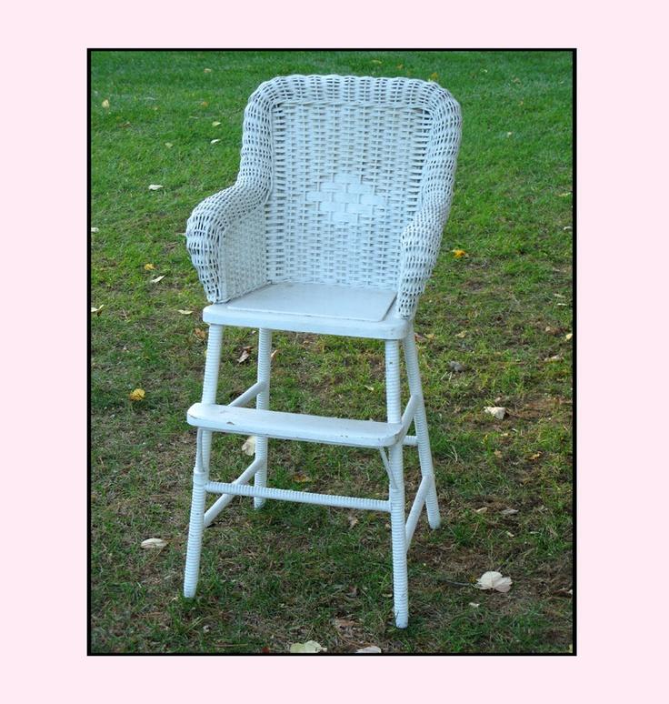 Vintage Wicker High Chair - Shabby Chic Baby by...   Wicker Blog  www.wickerparadise.com