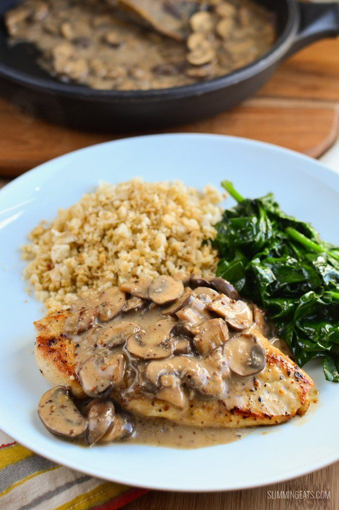 Tender Low Syn Chicken with Creamy Mushroom Sauce, you can't get much better that. Completely dairy free too.