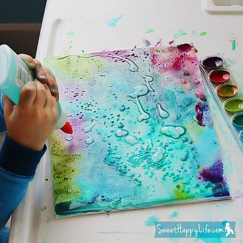 We love the combination of fun materials that give this canvas art its lovely hues.  Source: Sweet Happy Life