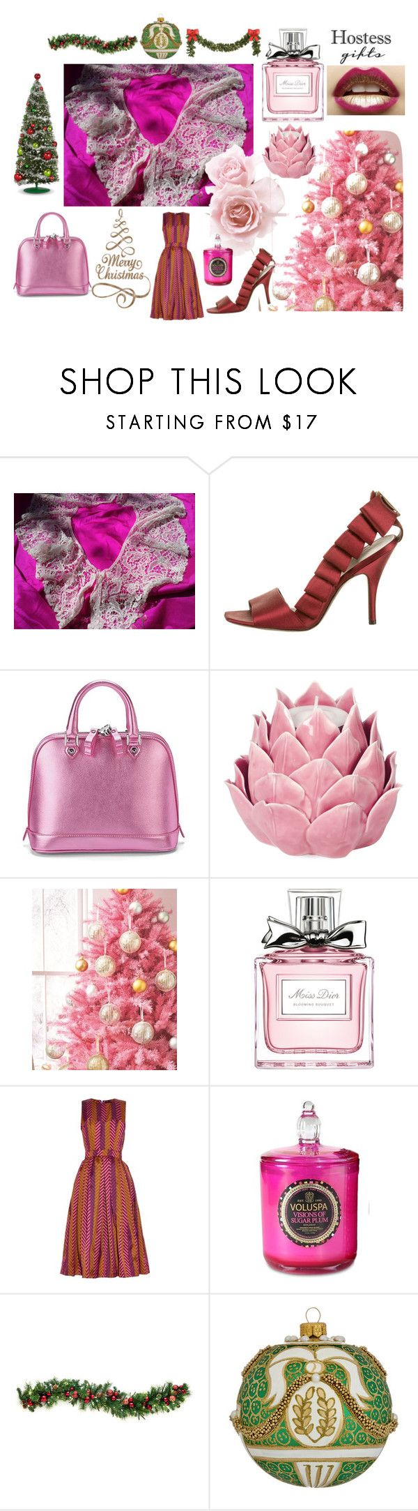 """Pink Christmas Hostess Gifts"" by sophieladydeparis on Polyvore featuring mode, Salvatore Ferragamo, Aspinal of London, Zara Home, Christian Dior, House of Holland, Hostess, Voluspa, Ball et holidays"