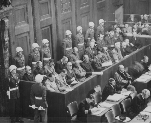 Nuremberg Trials looking down on the defendents dock.  Ca. 1945/1946.