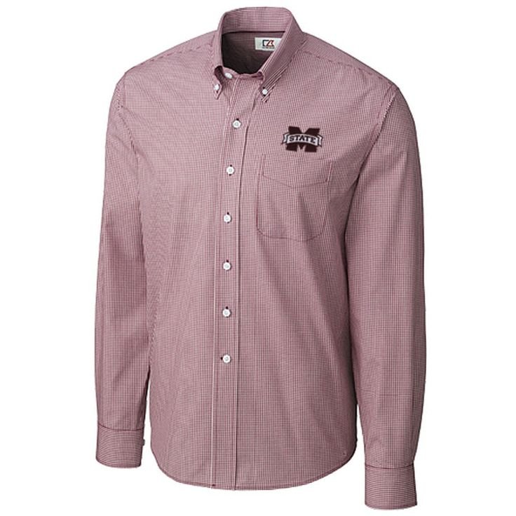 Mississippi State Bulldogs Cutter & Buck Easy Care Gingham Button-Down Shirt – Maroon