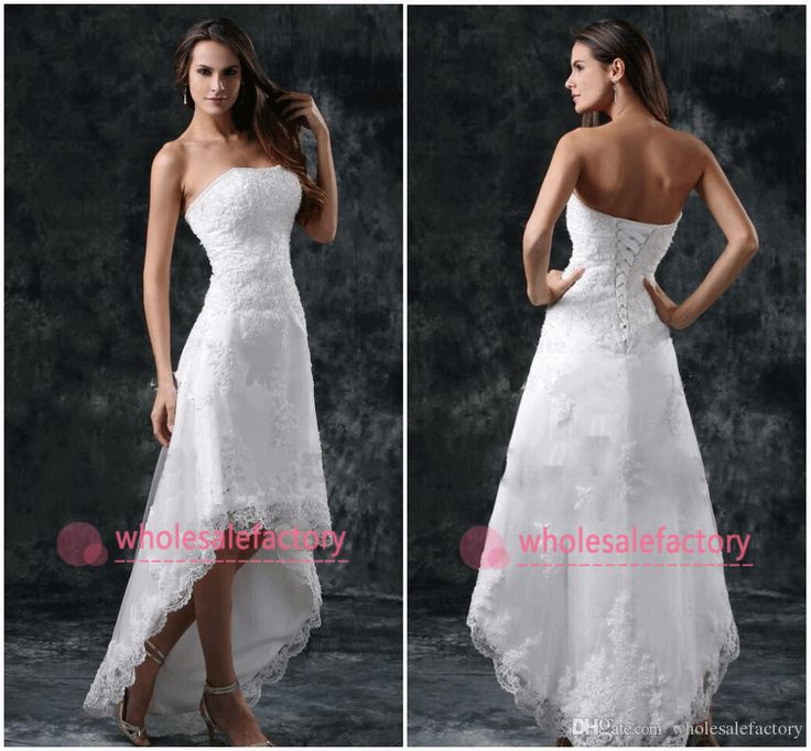 Online Dresses High Low Short Summer Beach Wedding Dresses 2015 Strapless Appliques Lace Corset Back Sexy White Ivory Bridal Gowns Cps 110 Corset Wedding Dresses From Wholesalefactory, $126.22| Dhgate.Com