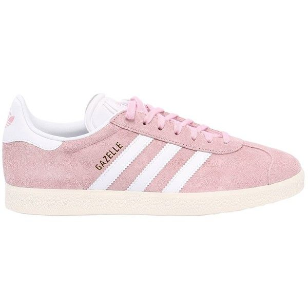 Adidas Originals Women Gazelle Nubuck Sneakers ($94) ❤ liked on Polyvore featuring shoes, sneakers, pink, adidas originals sneakers, nubuck sneakers, pink sneakers, adidas originals trainers and rubber sole shoes