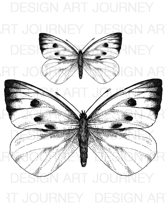 XL stamps White Butterflies