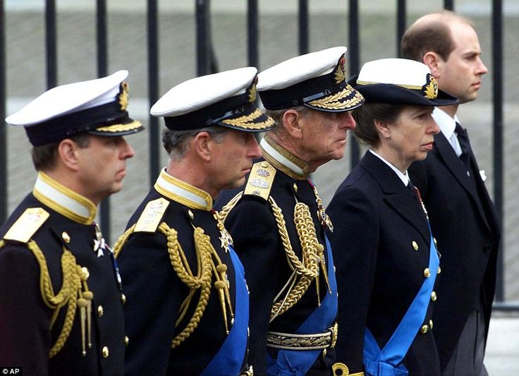 2002: Prince Andrew, Prince Charles, Prince Philip, Princess Anne and Prince Edward follow...