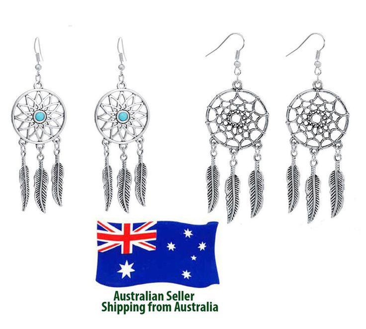 New Silver Plated Dream Catcher Woman Fashion Earrings Drop Dangle Long Vintage