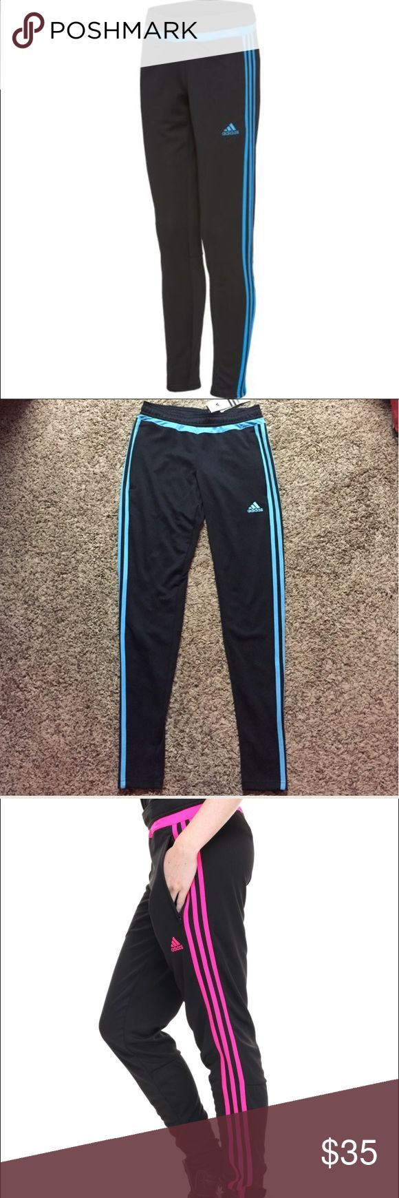 Adidas Climacool Skinny Pants Blue & black adidas pants. 2nd & 4th pictures of actual pants, other photos to show fit. Brand new with tags size XS & M. Adidas Pants Track Pants & Joggers