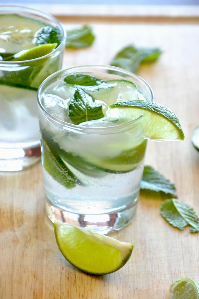 Cucumber Mint Cocktail. I'd modify, though. Juice the cucumber by blending with a small amount of water and straining. And seltzer instead of tonic, maybe
