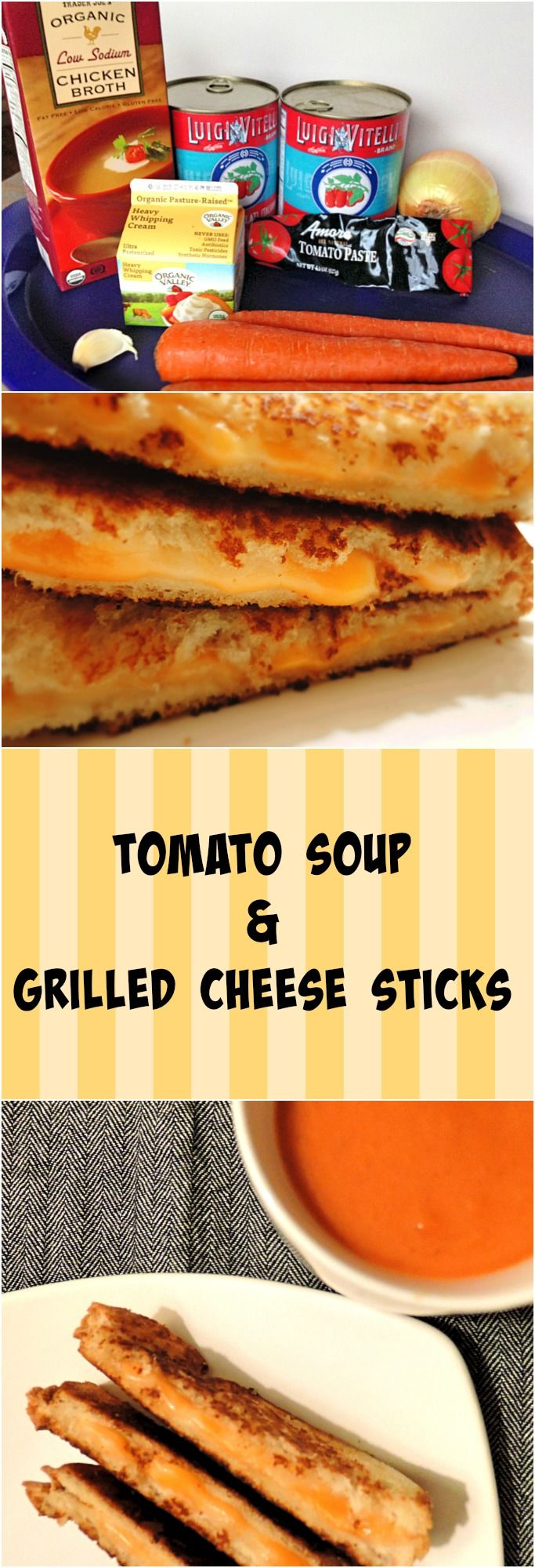 Homemade Tomato Soup and Grilled Cheese sticks.. your next week night meal or casual party food.