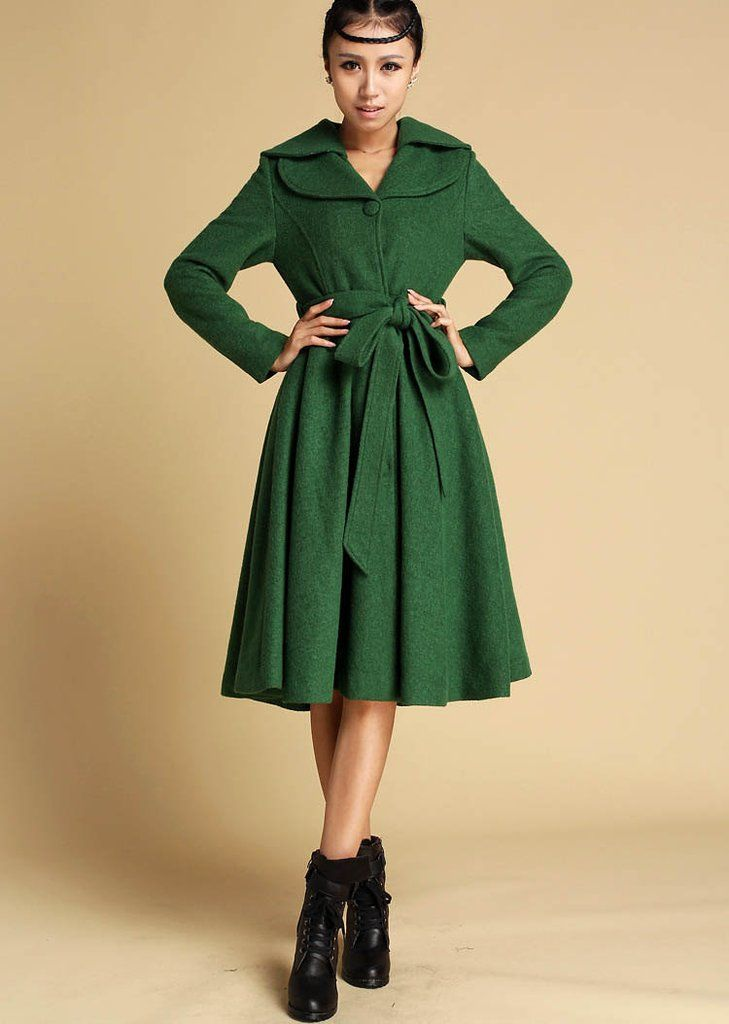 green winter wool coat midi dress style flared jacket knee length autumn winter fashion. Black Bedroom Furniture Sets. Home Design Ideas