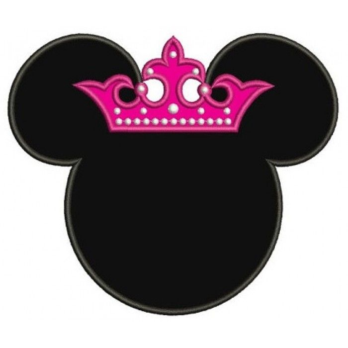Princess Minnie Mouse Ears Applique Machine Embroidery Digitized Pattern- Instant Download - 4x4 ,5x7,6x10 -hoops
