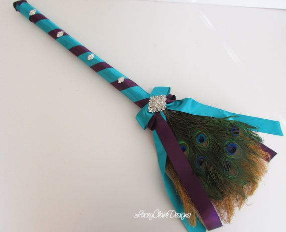 Wedding Jumping Broom Peacock Wedding Broom by LaceyClaireDesigns