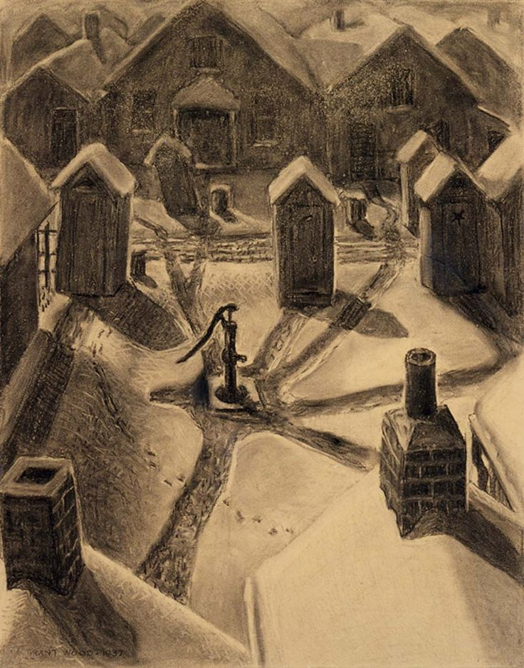 Village Slums, 1937, Grant Wood. American (1891 - 1942)  - Charcoal, Pencil and Chalk on Paperboard -   Via:  Smithsonian American Art Museum