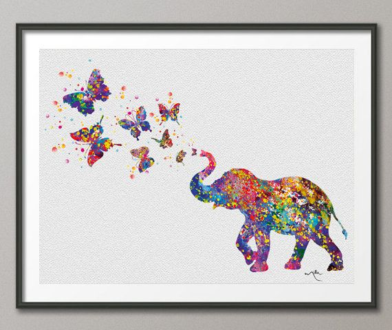Elephant Spraying Butterfly Art Print Watercolor Painting Wedding Gift idea Wall Art Nursery Wall Decor Art Home Decor Wall Hanging [NO 281]