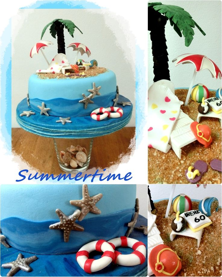 Beach party cake for a lovely lady on her 60 th birthday