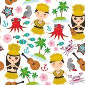 Aloha Hawaii, kawaii Hawaiian boys and girls in traditional costumes, ukulele guitar, palms, sea, fish, octopus, crab, starfish, anchor, flowers on a white background by ekaterinap